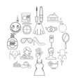 female attributes icons set outline style vector image
