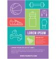Fitness club flyer or poster with line icons vector image vector image