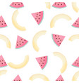 halves and slices of melon summer seamless vector image vector image