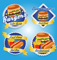 hamburger burger hotdog potato fries food logo vector image