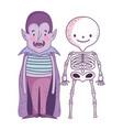 happy halloween celebration boys skeleton and vector image