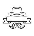hat with ribbon and moustache black and white vector image
