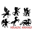 Heraldic mythical animals icons vector image vector image