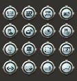 internet server network icons set vector image vector image