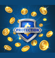 money protection realistic shield flying golden vector image vector image