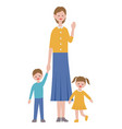 mother with kids in flat style vector image