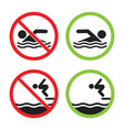 no swimming and swimming allowed sign set vector image vector image