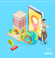 online hotel search flat isometric concept vector image vector image