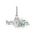 paris background floral paris sign with flowers vector image vector image