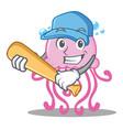 playing baseball cute jellyfish character cartoon vector image