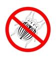 prohibition sign colorado potato beetle vector image vector image