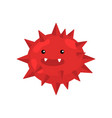 red spiky round bacterium or virus closeup vector image vector image