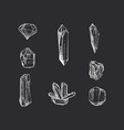 set hand drawn crystals in vector image