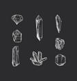 set hand drawn crystals vector image