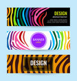 set horizontal color banners with stripes vector image vector image
