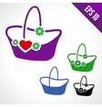 Set of of a basket for flowers vector image vector image