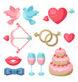 set of various wedding objects vector image