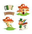 set st patrick woman with fungus and accordion vector image