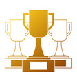 set trophies cups winner icon vector image