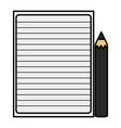 sheet notebook paper and black color pencil vector image