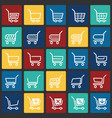 shop cart icons set on color squares background vector image