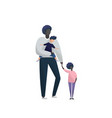 single father with daughter and adopted son vector image