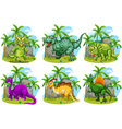 Six dinosaurs in the forest vector image vector image