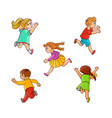 sketch running ranaway kids set vector image vector image
