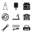 sport bag icons set simple style vector image vector image