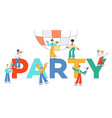 stylized male female characters at party vector image vector image