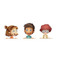 three kids with happy face vector image vector image