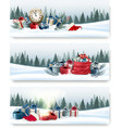 Three nature landscape Christmas banners with gift vector image