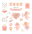 valentines day set elements for design vector image