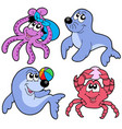 various cute marine animals collection vector image