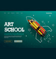 web page design template for art school studio vector image vector image