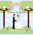 wedding couple in the park save the date card vector image vector image