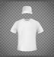 white blank template t-shirt and a baseball cap vector image