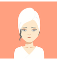 Woman with towel on head vector image vector image