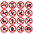 Set of Prohibited No Stop Sign vector image