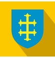 Heraldic cross of France on a shield icon vector image