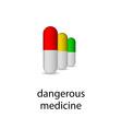 Realistic set pills mockup medical poster or logo vector image