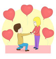 a man proposing to the girl standing on knee vector image vector image