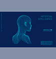 artificial intelligence head city human and vector image vector image