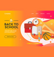 back to school concept web design landing page vector image vector image