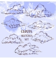 Background with clouds sketches vector image