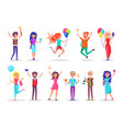 birthday celebration girls and guys with balloons vector image vector image
