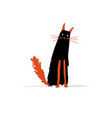 black cat sketch for your design vector image vector image