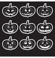 black halloween carved pumpkins stickers eps10 vector image vector image
