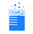 boiling blue beaker icon flat style vector image