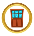 Brown wooden door with glass icon vector image vector image